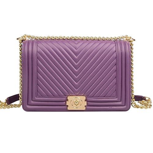 Ainifeel Women s Genuine Leather Quilted Chain Strap Handbags Hobo Bag  Crossbody (Medium 362722f431a02