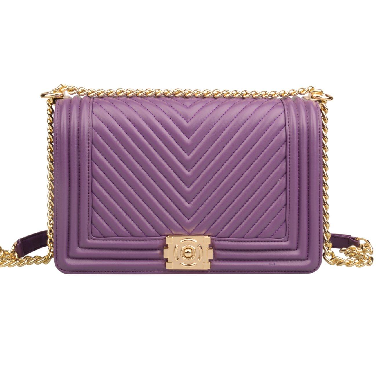 Ainifeel Women's Genuine Leather Quilted Chain Strap Handbags Hobo Bag Crossbody (Large, Purple)