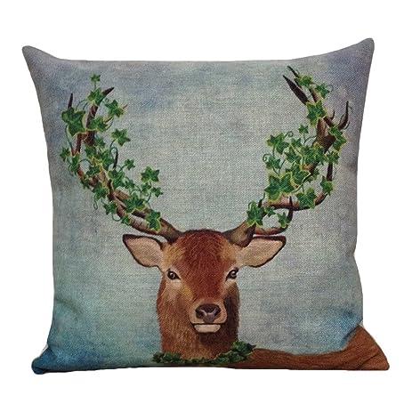 Amazon Aeneontrue Cotton Linen Deer Animal Print Throw Awesome Cheetah Print Decorative Pillows