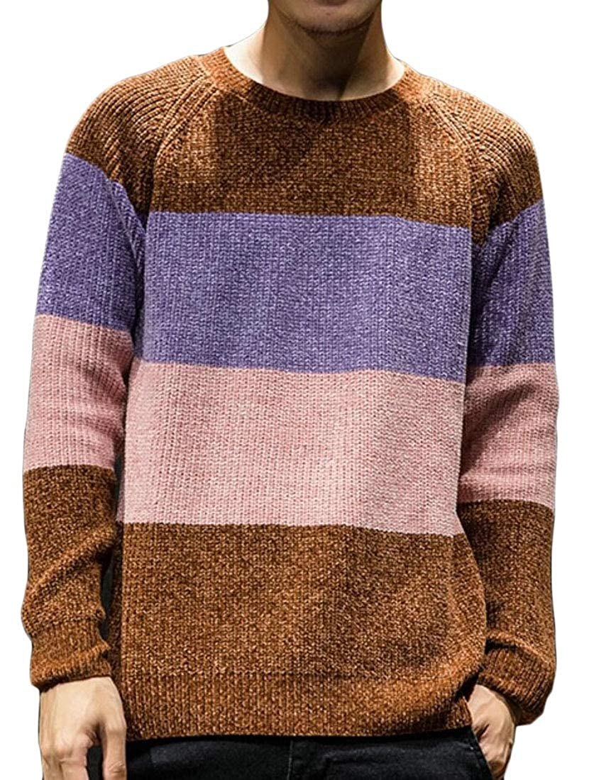 WSPLYSPJY Mens Custom Fit Crewneck Color Block Hipster Knitted Pullover Sweaters