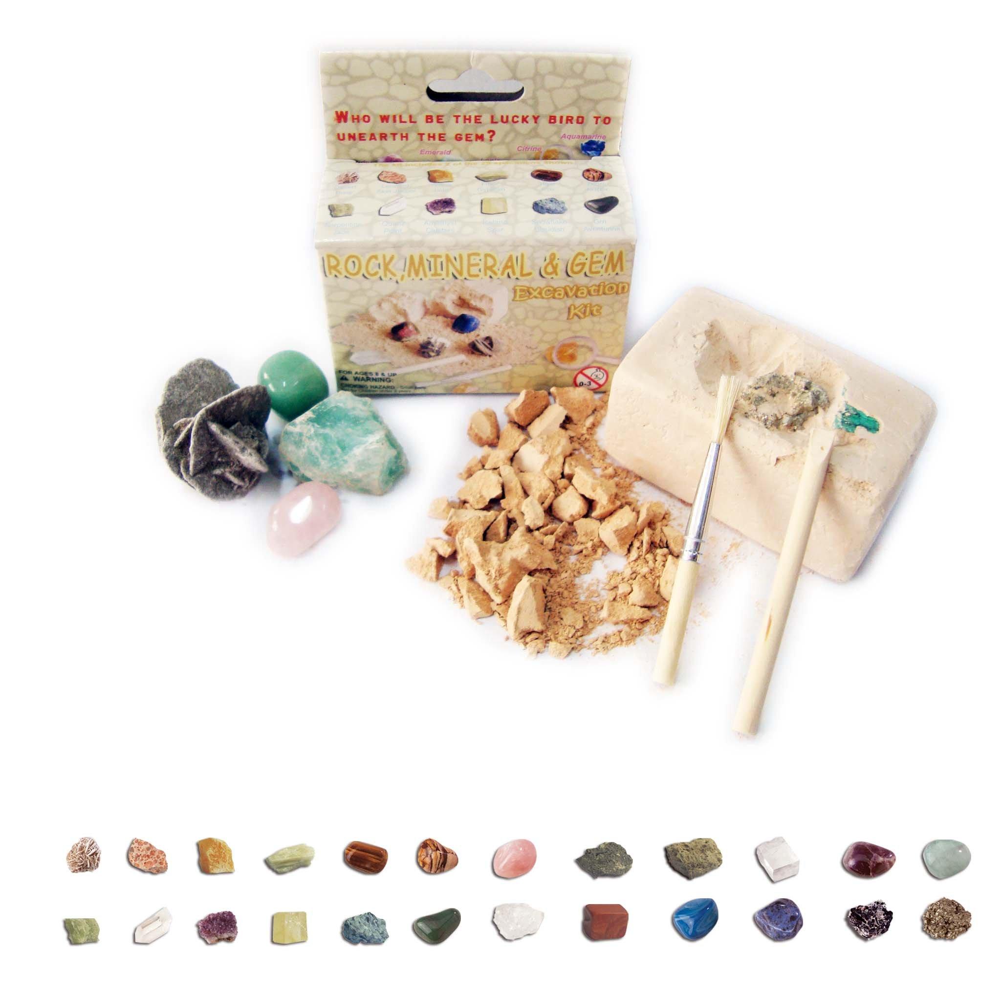 4 Pack - Small Rock, Mineral & Gem Excavation Kit