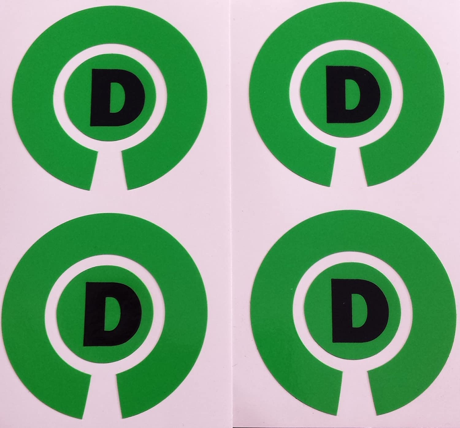 Crown Green Lawn Indoor Bowls Adhesive Lettered Coloured Marker Labels Set of 4 (Green, D)