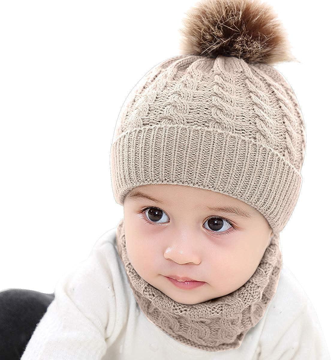 Toddler Baby Kids Winter Warm Double Pom Bobble Knit Hat Beanie cap Sciarpa Set Paraorecchie Beanie Regalo Cappello Lavorato a Maglia Set Sciarpa Fazzoletto Caldo Cappello Set di Sciarpe per Bambini