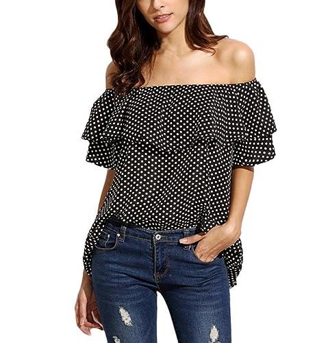 Keepwin - Camisas - sujetador bandeau - Lunares - del hombro - para mujer