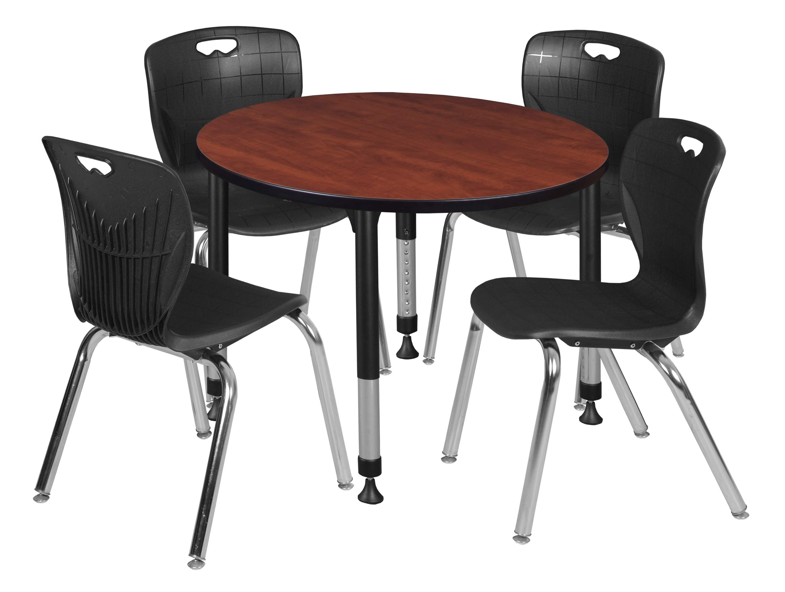 Regency TB42RNDCHAPBK40BK Kee Height Adjustable Classroom Table Set with Four 18'' Andy Chairs 42'' Cherry/Black