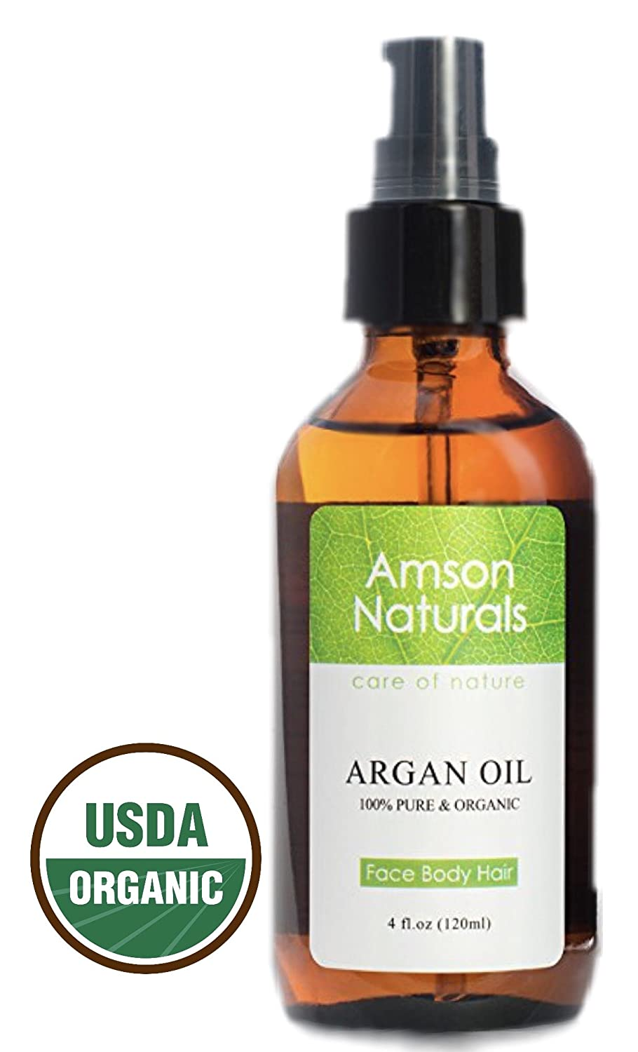 ARGAN OIL 100% Pure & USDA Organic 4 0z (120ml) by Amson Naturals for Face, Body, Nail and Hair Health and Beauty.Best Cold Pressed, Natural Antioxidant, Anti-Aging Moisturizer For All Skin & Hair Types From Morocco Premium Quality Pravada