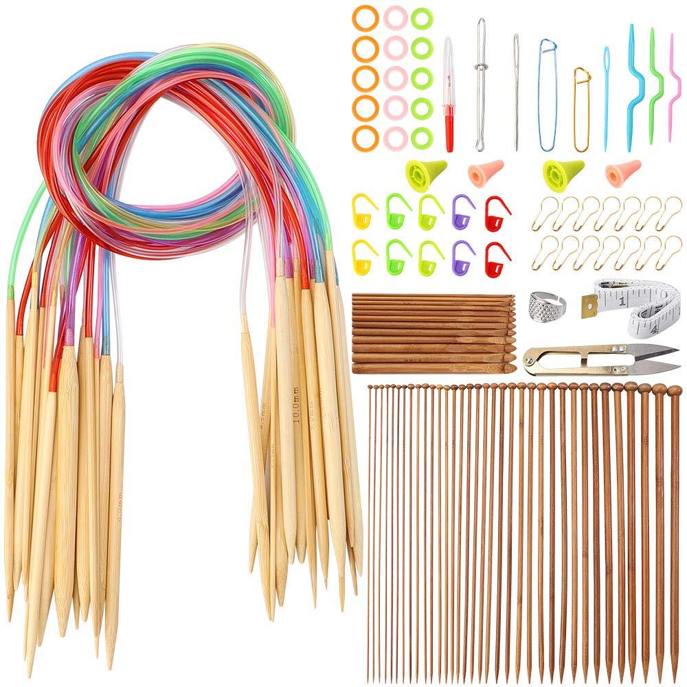 Outkitkit Knitting Needles Set, 36pcs Single Pointed Bamboo Knitting Needles + 18 Pcs Circular Knitting Needles + 12 Pcs Crochet Hooks Set + Weaving Tools Knitting Kits