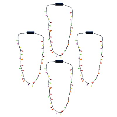 "Christmas Holiday Flashing Light Bulbs Necklace 28"" (4 Per Order): Toys & Games"