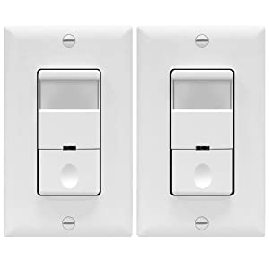 TOPGREENER Motion Detector Sensor Light Switch, Occupancy Vacancy Modes, 4A, 500W 1/8HP, Wall Plates Included, Neutral Wire Required, TDOS5, White, (Pack of 2)