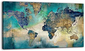 Large World Map Canvas Prints Wall Art for Living Room Office 24x48 Green World Map Picture Artwork Decor for Home Decoration