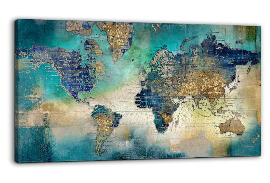 "Large World Map Canvas Prints Wall Art for Living Room Office ""24x48"" Green World Map Picture Artwork Decor for Home Decoration"