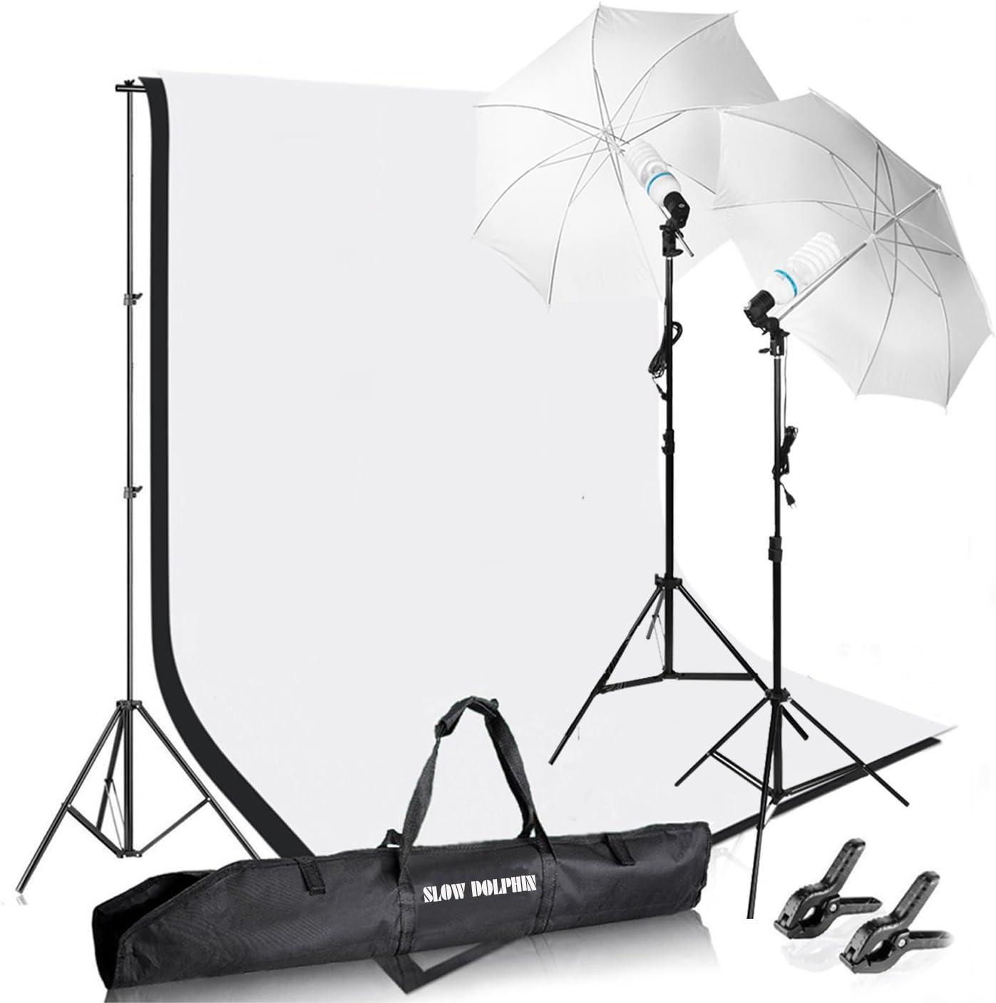 Slow Dolphin Photography Photo Video Studio Background Stand Support Kit with Muslin Backdrop Kits (White Black),1050W 5500K Daylight Umbrella Lighting Kit