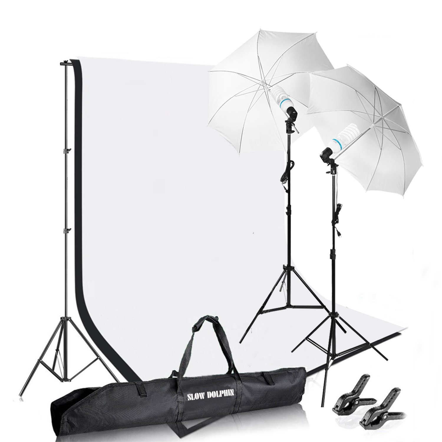 Slow Dolphin Photography Photo Video Studio Background Stand Support Kit with Muslin Backdrop Kits (White Black),1050W 5500K Daylight Umbrella Lighting Kit by SLOW DOLPHIN