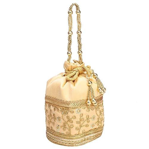 Amazon.com: Bolso de mano indio de artesanía de Potli con ...