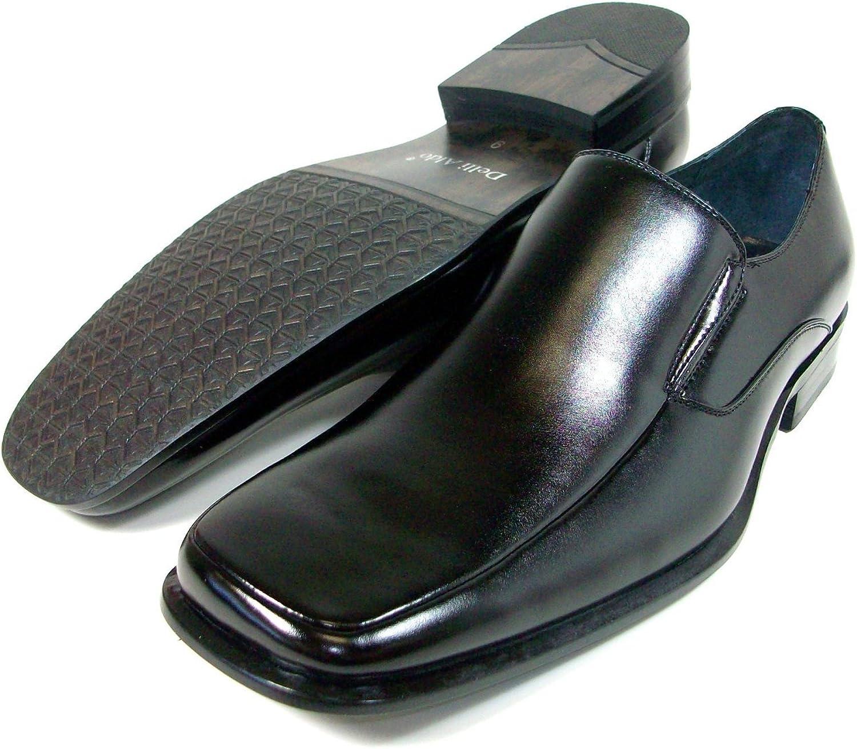 Delli Aldo Mens Black Square Toe Loafer