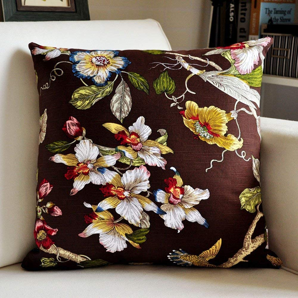 Polymer Soft Pillow Vintage Chinese Cushion Cover Sofa Cushions Office Lumbar Bed XXPP (Size : 45x45CM)