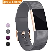 Hotodeal Band Compatible Fitbit Charge 2 Band, Classic Soft TPU Adjustable Replacement Bands Fitness Sport Strap Rose Gold Buckle, Small Large