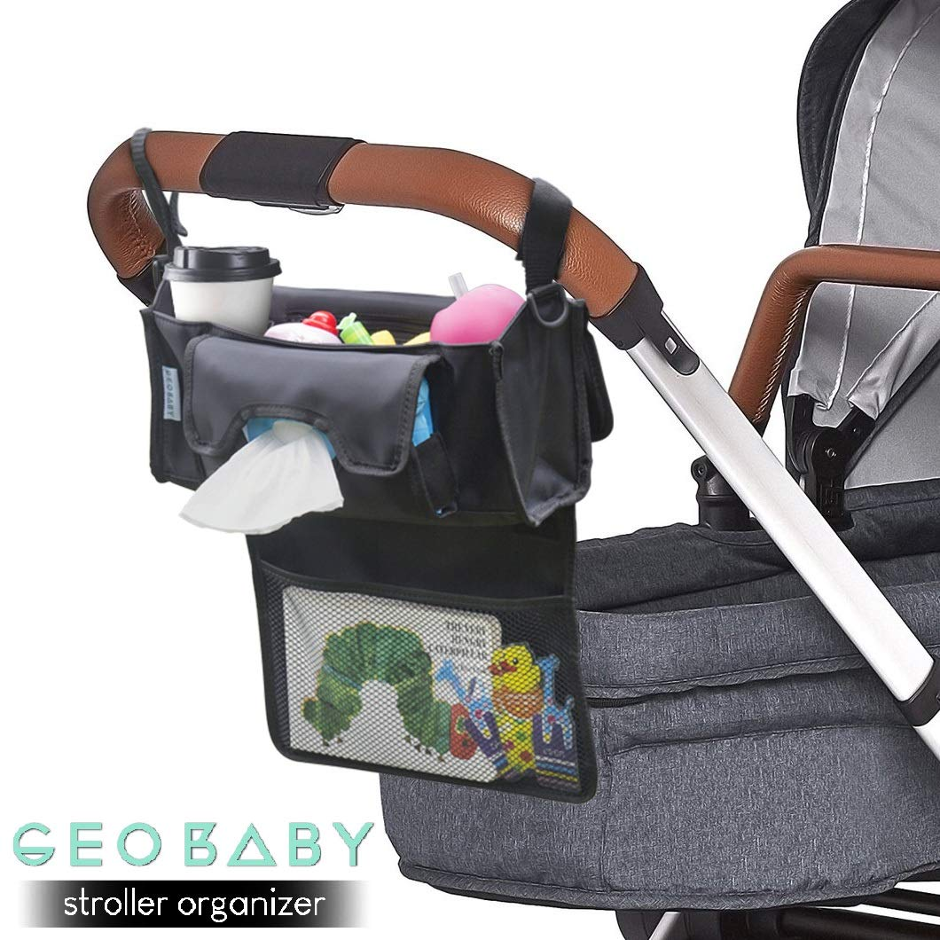 GeoBaby Modern and Universal Extra Storage Stroller Organizer With Cup Holders, Diaper Compartments, Wipes Dispenser, Phone Pockets, Baby Shower Idea