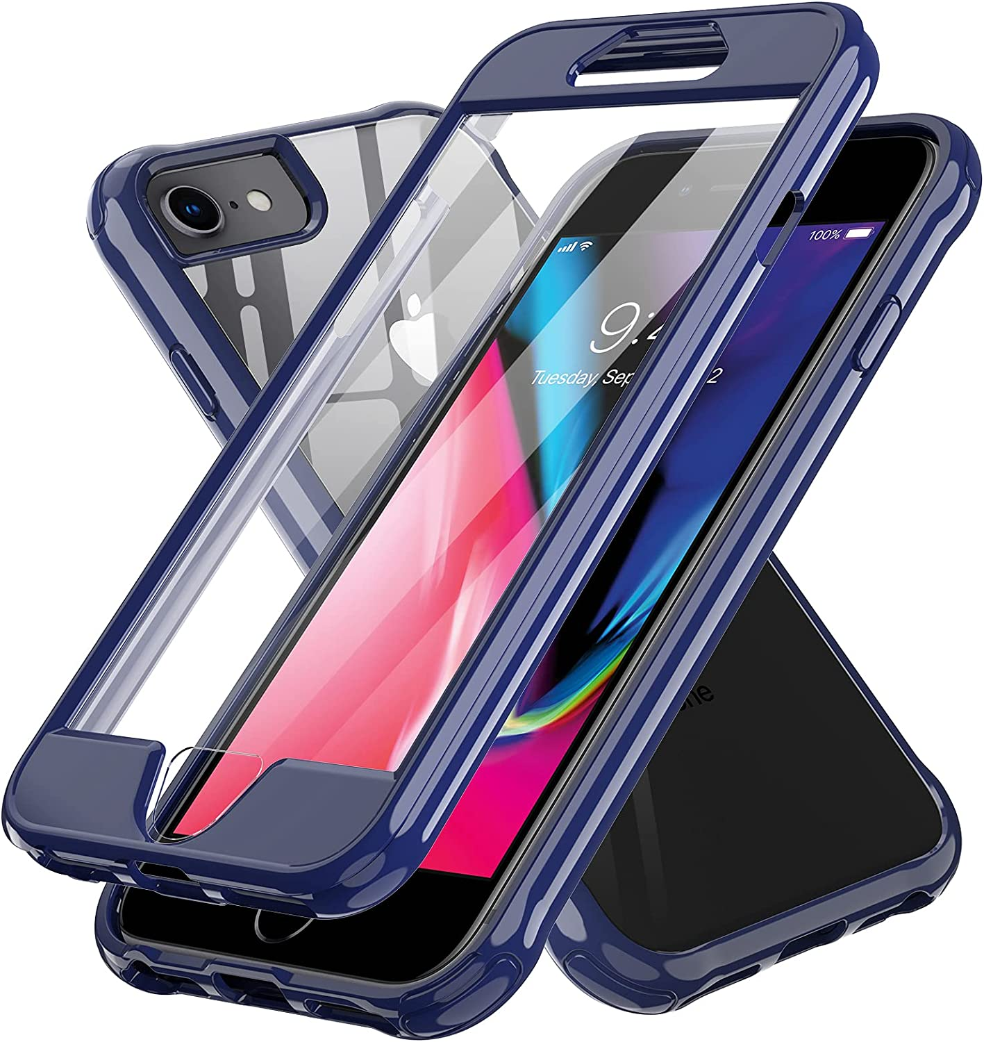 LeYi Compatible with iPhone 8 Case, iPhone SE 2020 Case, iPhone 7 Case with Built-in Screen Protector, 360 Full-Body Protective Dual Layer Shockproof Slim Clear Phone Cover Cases for iPhone 6s/6, Blue