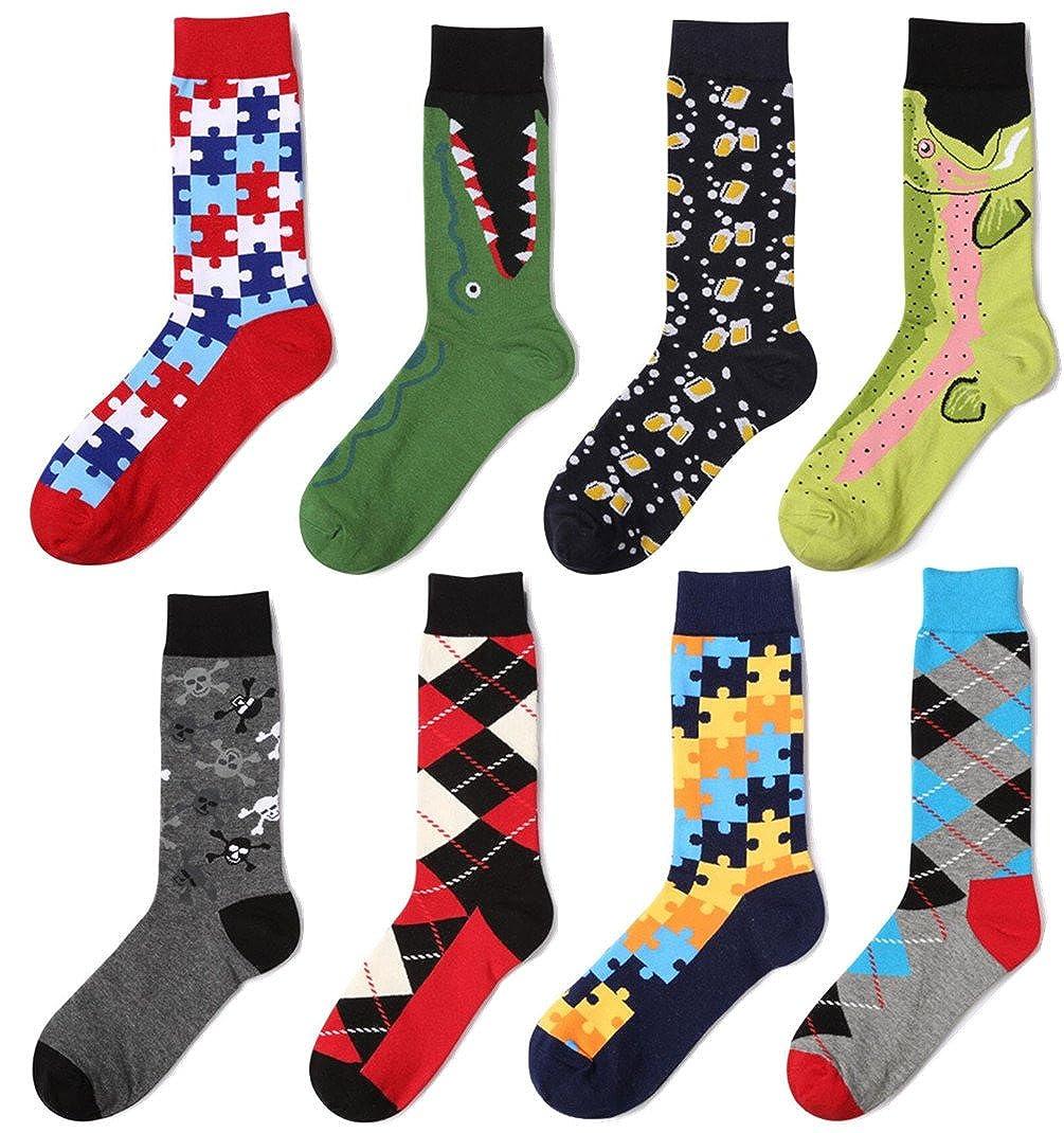 Men's Cotton 6 Pack Dress Socks Patterned Novelty Casual Crew Socks 7-9.5 Happymart M16451