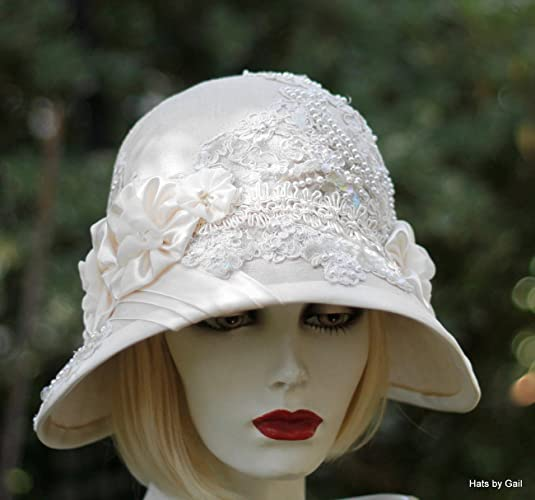 c8e7f558 Amazon.com: Womens Vintage 20s Style Fancy Formal Wide Brim Cloche Hat for  Summer: Handmade