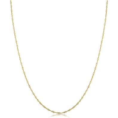 46ad7a339ef Amazon.com: 10k Yellow Gold 0.7mm Dainty Singapore Chain Necklace ...