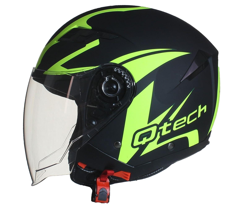 M 57-58cm Qtech Casco Moto Abierto de la Motocicleta de la Cara Visera Doble Interna Sol Vespa Scooter Amarillo Fluorescent