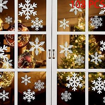 Adesivi Murali Natale.108 Pz Natale Adesivi Finestre Finestra Decorazione Natale Rimovibile Natale Vetrofanie Adesivi Murali Fai Da Te Finestra Decorazione Vetrina