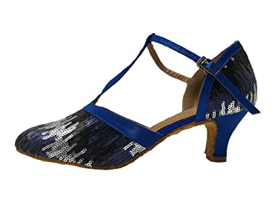 Honeystore Women's Strap Sequin Mid Heel Dress Party Pump Glitter Salsa  Tango Latin Dance Shoes Blue