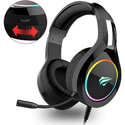 Auriculares Gaming PS4 HAVIT Iluminación RGB Cascos Gaming sonido envolvente, controlador de 50MM y micrófono con reducción de ruido para Xbox One/PC/Móvil (2011d,Negro)