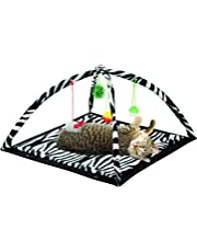 Petty Love House Zebra Cats Get Exercise & Stay Active Toys,cat Activity Tent with Hanging Toy Balls Furniture