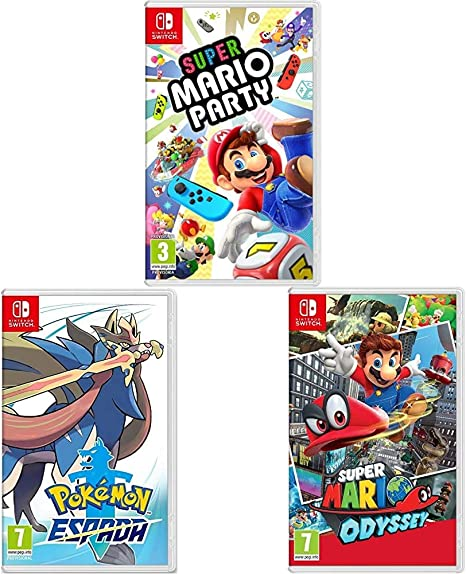 Super Mario Odyssey + Super Mario Party + Pokémon Espada (Nintendo Switch): Amazon.es: Videojuegos