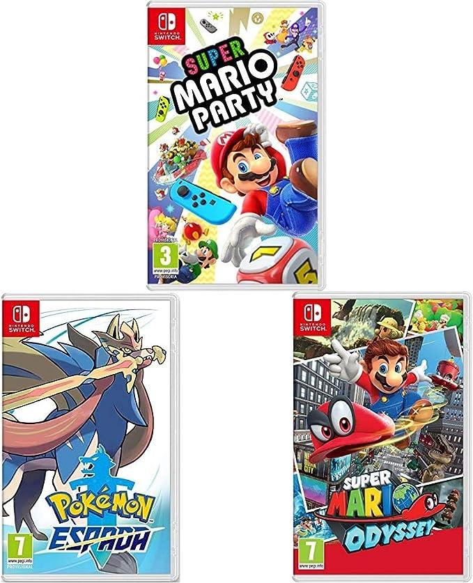 Super Mario Odyssey + Super Mario Party + Pokémon Espada (Nintendo ...