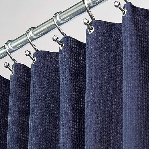 mDesign cortina ducha de poliéster y algodón - Cortina de baño con ...