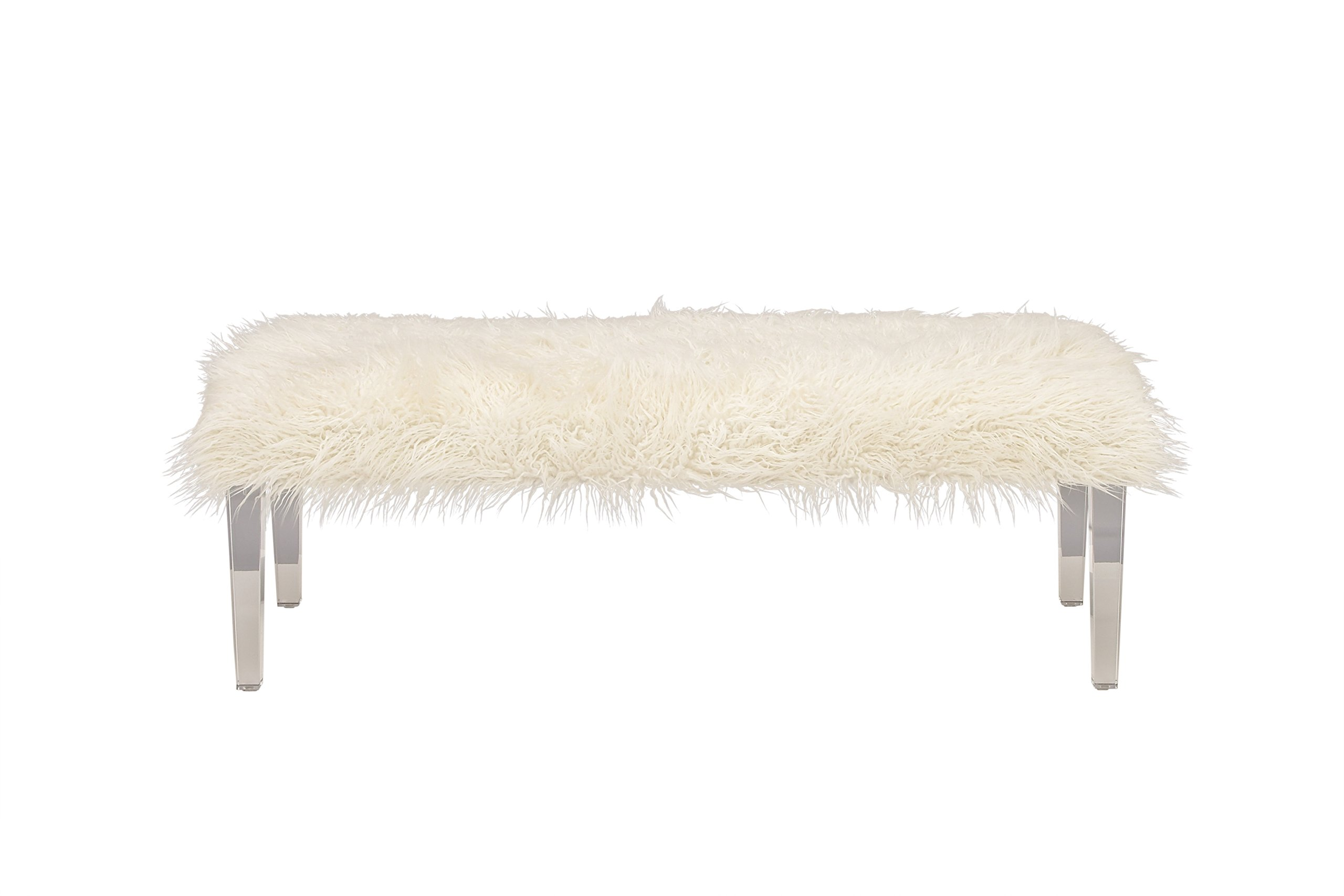 Deco 79 33003 Bench, 55'' x 19'', White, Clear