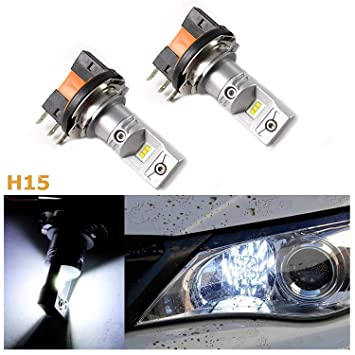 (2) Super brillante Blanco 100 W Philips Luxeon H15 - Bombillas LED para VW Volkswagen Audi BMW Mercedes Luces De Conducción Diurna 2009 - 2015: Amazon.es: ...