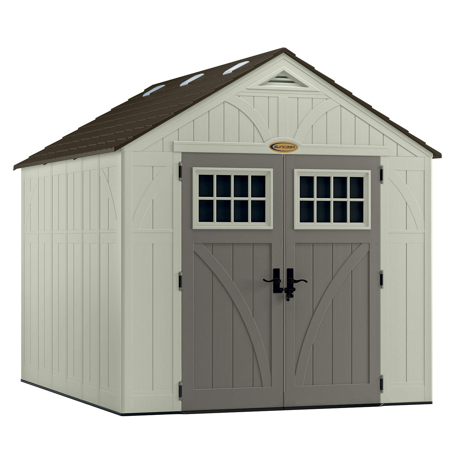 Suncast 8 x 10 Tremont Storage Shed – Outdoor Storage for Backyard Tools and Accessories – All-Weather Resin Material, Transom Windows and Shingle Style Roof