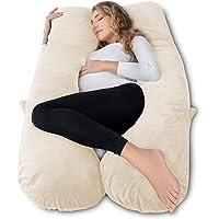 AngQi Pregnancy Pillow,Full Body Pillow for Pregnant Women,U Shaped Maternity Body Pillow with Velvet Cover,Beige