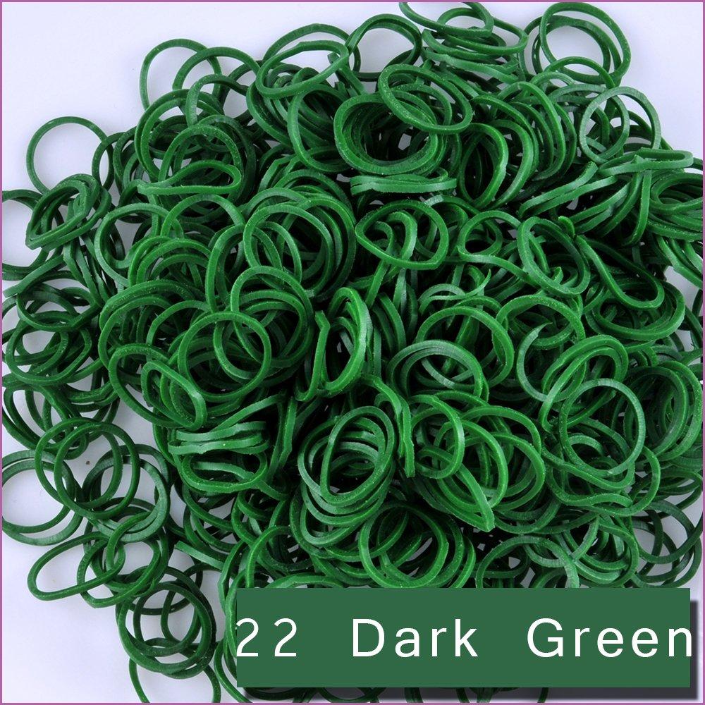 Kirinstores (TM) 6000 PCS 240 Clips Bands Refills for Loom Rainbow Bracelet Dress Making - Dark Green