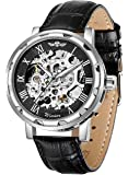 GuTe Steampunk Men's Analogue Self Wind Mechanical Skeleton Watch Roman Numeral Black Leather Strap Luminous Silver Black Tone