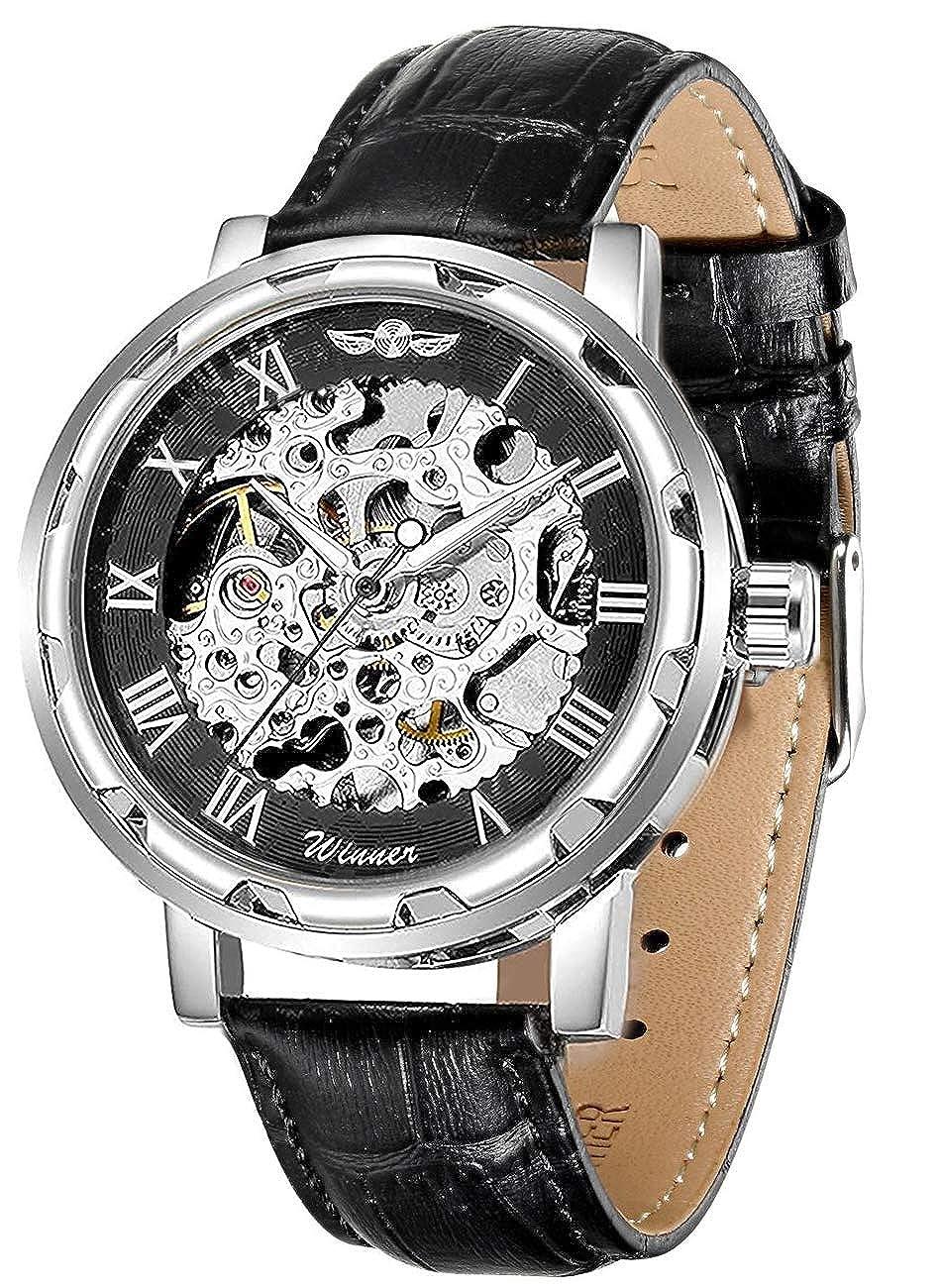 Gute clásico de Vapor Punk automático Auto Viento muñeca Reloj Negro Esqueleto Dial Negro Plata Reloj Caso