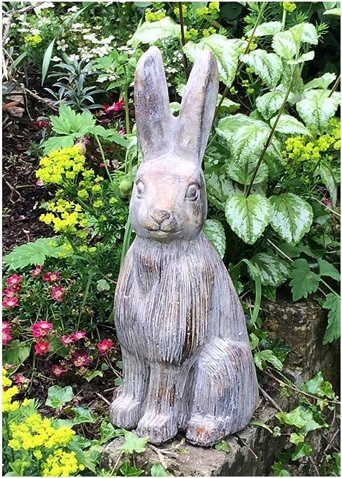 Gran liebre adorno de jardín escultura en un acabado efecto piedra – ideal para jardines, Door-stop, invernaderos o interiores.: Amazon.es: Jardín