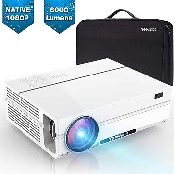 TOPVISION Proyector Cine en Casa 6000 Lúmenes, Proyector LCD Full HD Nativo 1080P, Soporte 4K 300