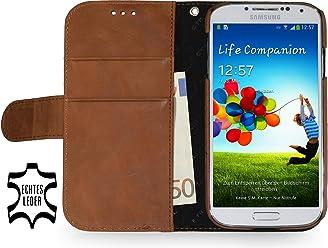 StilGut - Custodia esclusiva Talis in pelle per Samsung Galaxy S4 i9500, incl. scomparto per carte, Cognac Vintage