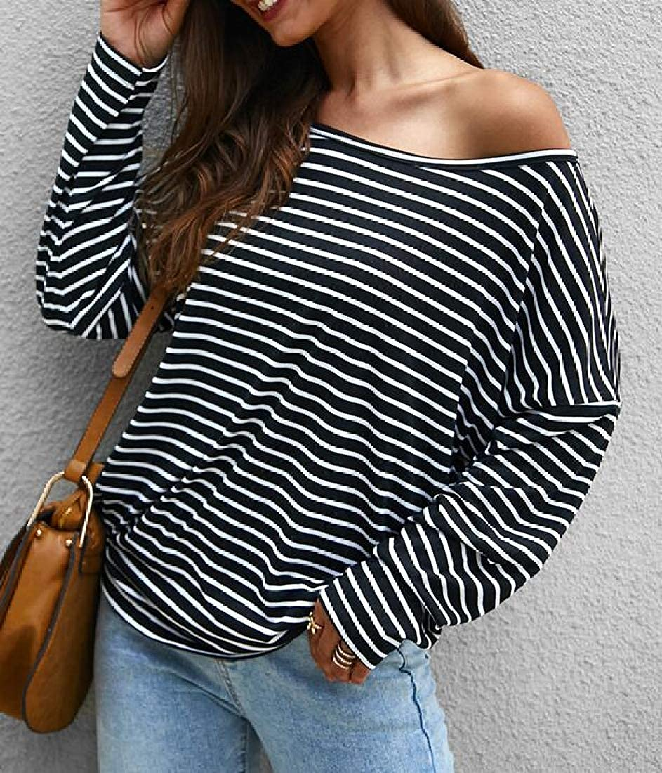 Rrive Womens Long Sleeve Stripe Fall /& Winter Knitted Basic Blouse T-Shirt Top