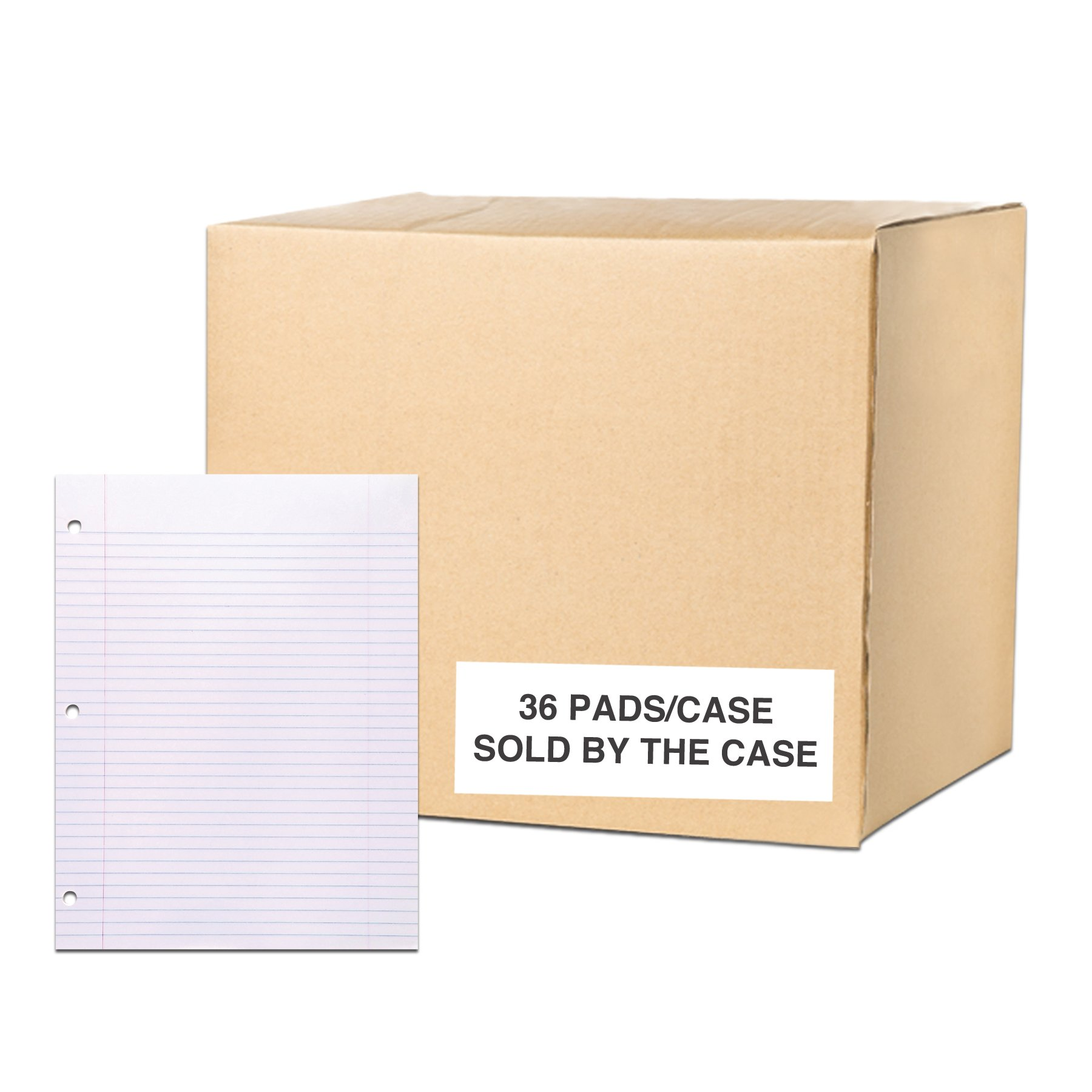 Case of 36 Gummed Pads, 8.5''x11'', 50 sheets 15# White Paper Per Pad, 12 Pads Per pack, 3-Hole Punched, glued, College Ruled W/Margin