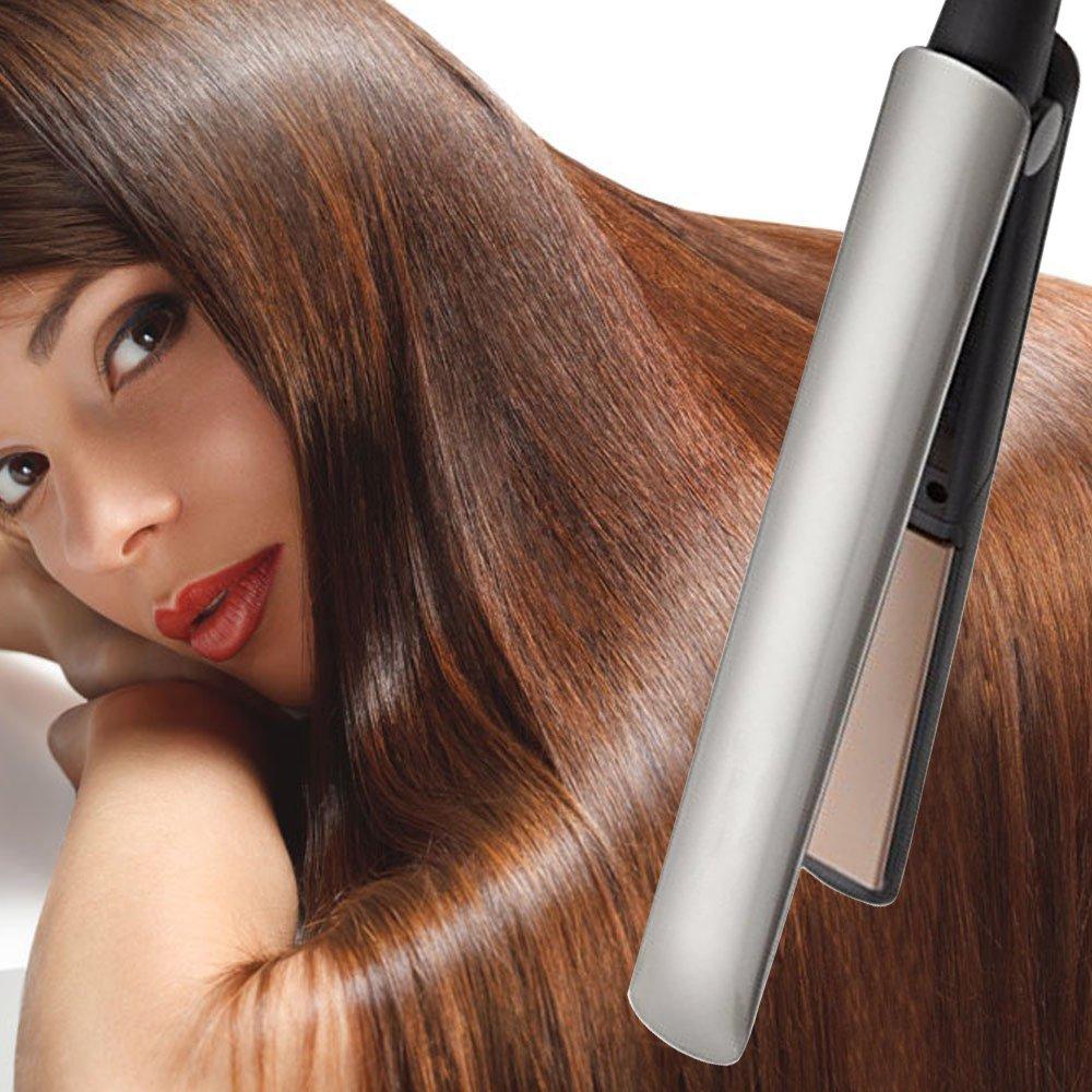 Jingfude Enderezadora profesional del pelo, hierro que labra profesional, el mejor hierro dual del pelo del voltaje para el pelo 1 Enderezadora de la pulgada con 450 grados de apagado automático control de la temperatura