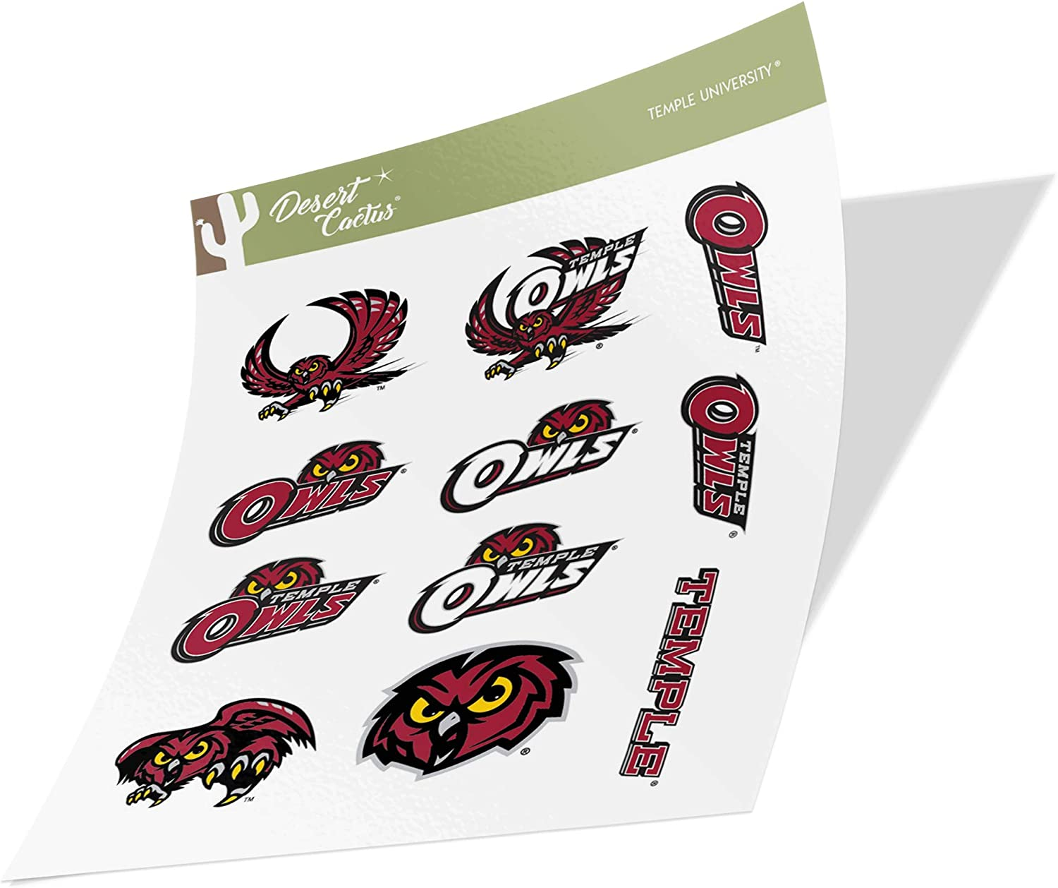 Temple University Owls NCAA Sticker Vinyl Decal Laptop Water Bottle Car Scrapbook (Type 2 Sheet)
