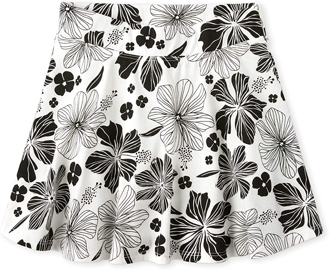 The Childrens Place Girls Printed Pleated Skorts