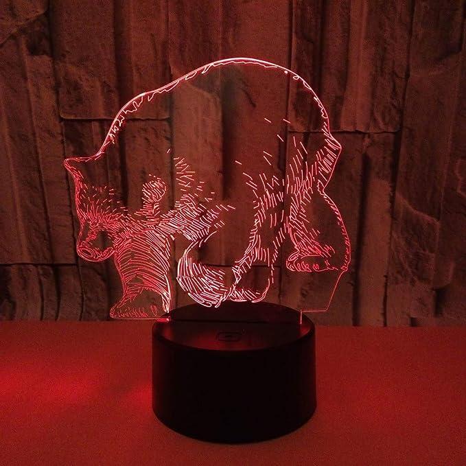 Lámpara de noche 3D, forma de oso polar, LED, lámpara de ilusión ...